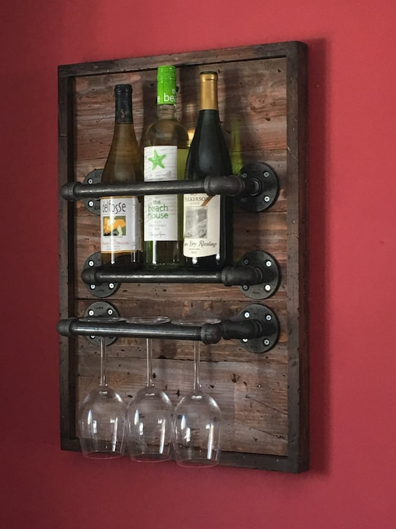 Wine Rack made from Reclaimed Wood and Industrial Pipe