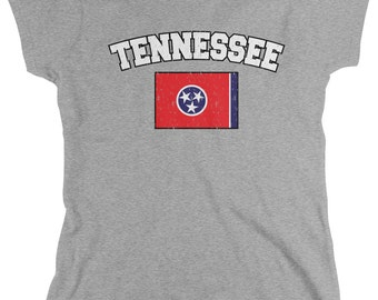 Distressed Tennessee State Flag Women's T-Shirt, Tennessean Pride, Nashville, The Volunteer State, Women's Tennessee Shirts AMD_0612