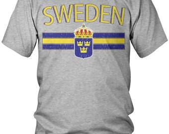 Distressed Sweden Men's T-Shirt, Sweden Flag, Swede, Sverige, Kingdom of Sweden, Men's Sweden Soccer Shirts AMD_SWE_01