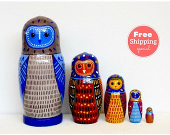 FREE Shipping * Nesting dolls for kids (5 pcs) * Matryoshka * Russian nesting doll * Babushka doll * Stacking dolls * Owl nesting dolls