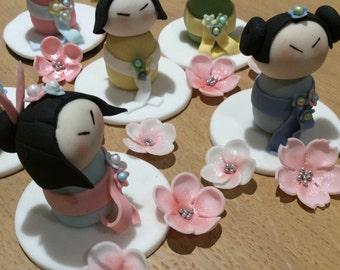 Edible Icing Japanese Kokeshi Doll Set