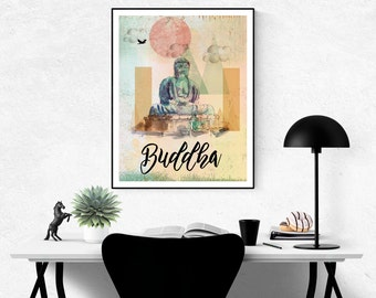 Amida Buddha Poster, Buddha Print, Buddha Wall Art, Buddha Printable, Buddha Art, Buddha Poster, Boho Wall Art, Amida Buddha Art, Buddha