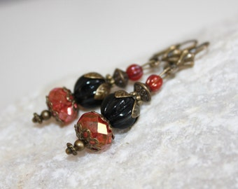 Long earrings with Czech glass beads, earrings