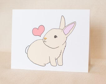 Cute Bunny Rabbit Greeting Card, Thinking of You, Any Occasion Card, Valentine's Day