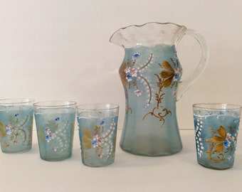 ON SALE Antique 1800s Hand-Blown Hand-Painted Frosted Enamel Lemonade Set | Pitcher and Glasses - Victorian-Era Barware