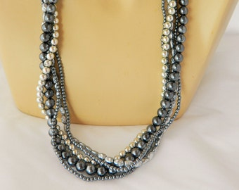 Vintage 60s Faux Pearl Multi Strand Necklace & Matching Clip On Earrings Set
