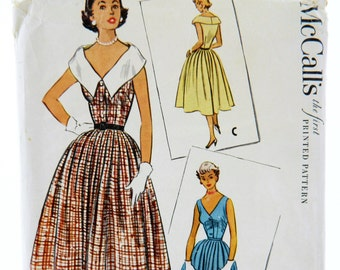 Vintage 1950s McCall's Dress Sewing Pattern 9321 Size 16, 50s Sleeveless Dress, 50s Cinched Waist Dress, 50s Full Skirt, 50s Fashion