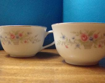 Set of 2 Vintage Coffee / Tea Cups Florenteen Fine China 'Fantasia' Design