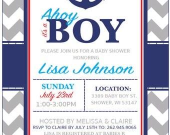 Nautical Baby Boy Shower Invitation, 5x7