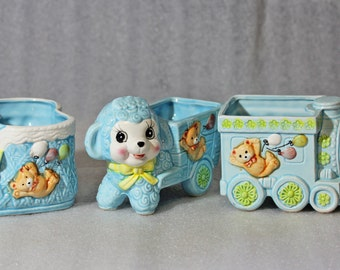 Vintage Relpo Blue Nursery Planters - Set T1135