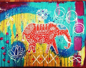 Moment of zen. ***SOLD*** Elephant, abstract, acrylic on canvas 24x18