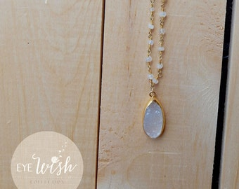 Teardrop Druzy Necklace, 14k gold chain and rosary chain