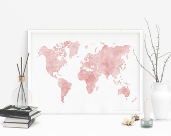 Large world map etsy pink watercolor map printable world map large world map watercolor world map gumiabroncs Image collections