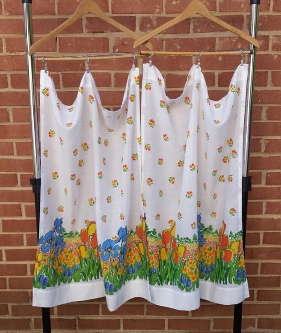 Kitchen Curtains Fabric Vintage Ki Curtains Fabric: Vintage Kitchen Curtains 1970s Set Of 2 Nature Farm