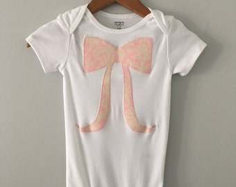 Pink and Cream Damask Print Bow Onesie - Bella and Fella Couture