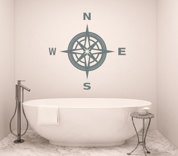 Compass Wall Decal Bathroom Art Nautical Compass Rose Navigate