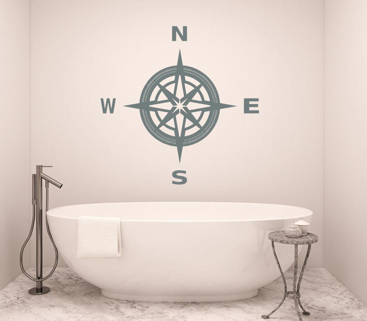 compass wall decal bathroom art nautical compass rose navigate. Black Bedroom Furniture Sets. Home Design Ideas