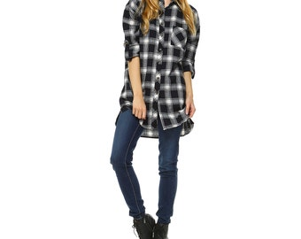 Fashionazzle Women's Mid-Long Roll-Up Sleeve Button Down Plaid Flannel Shirt Top Navy/White