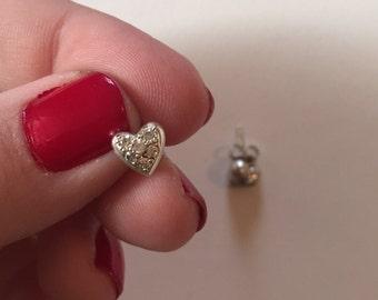 Petite Vintage Heart Shaped 925 Sterling Silver Cubic Zirconia Studded Earrings
