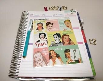 Retro sass planner stickers - retro housewife stickers