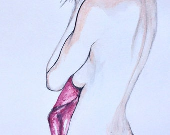 Watercolour Fashion Illustration - Innocence, with Free Shipping Standard Delivery