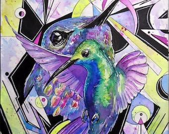 ORIGINAL Watercolor and Ink Painting Hummingbirds 9x12