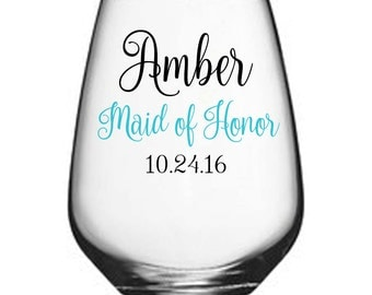 One Single (1) Vinyl Stemless Wine Glass, Bridesmaid Gifts, Wedding Party Stemless Wine Glass, Personalized Stemless Wine Glasses