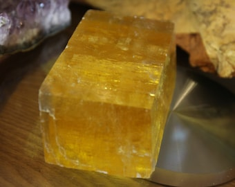 Golden Yellow Honey Calcite Large Uncut Crystal