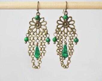 Green Earrings green Malachite earrings, green chandelier earrings chain Earrings green Boho Earrings Bohemian Earrings green Drop Earrings
