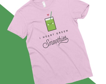 I Heart Green Smoothies T-Shirt, Vegan, Vegetarian, Shirt, Plant-Based Clothing, Foodie, Healthy, Kale, Cute, Funny, Love, American Apparel
