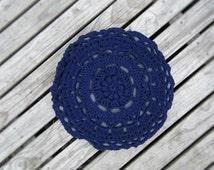 Mandala Crotchet Throw Pillow; Blue Circle Mandala Pattern Denim Cushion; Round Throw Pillow; Home Decor