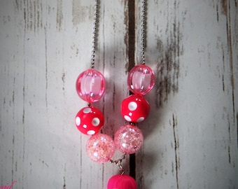 La La Loopsy Inspired Chunky Beaded Bubblegum Necklace party Favor Ball and Chain