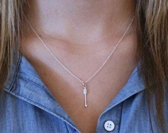 Arrow Necklace - Sterling Silver Vertical Arrow Necklace  Arrow Pendant  Silver Layering Necklace  Bohemian Arrow  Arrow Jewelry  Boho Style