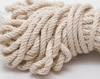 Natural cotton rope 5mm Decorative rope Cotton cord Off white cotton cord Twisted cotton rope Cream cotton rope Craft supplies / 2 meters