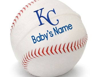 Personalized Baby Kansas City Royals Plush Baseball
