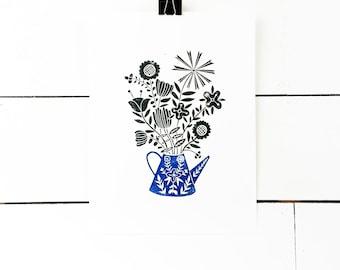 Flower Art, Lino Print, Linocut Print, Scandinavian Art, Wildflower Print, Folk Art Print, Blue Art Print, Gallery Wall Print Modern Art
