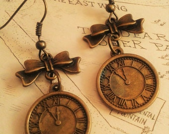 Antique Steampunk Style Lolita Timepiece Earrings. Antique Bronze. Vintage look. Clock. Time. Bronze metal Bow.
