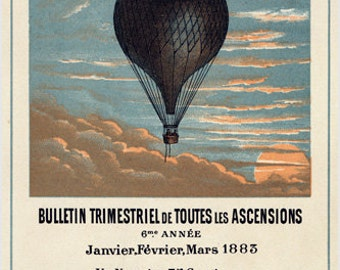 Hot Air Balloon Vintage Poster 1883 French Aeronautical Journal New 24x36