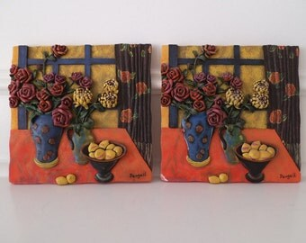 Daugall Textured in Relief Ceramic Tiles - Set of 2