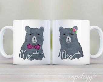 Mug Set, Mr and Mrs Bear Mugs, Wedding Gift, Engagement Gift, Bridal Shower Gift, Coffee Mugs, Custom Mugs, Mr and Mrs