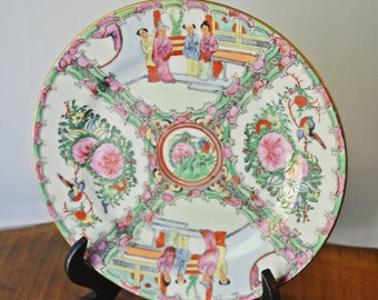 Asian Plate, Chinese Hand Painted Enameled Plate, Yang Cheng