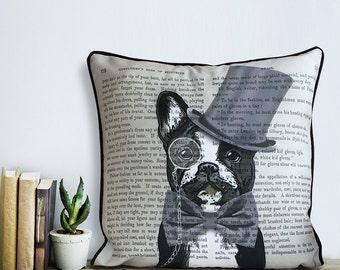 French bulldog pillow French bulldog cushion - Formal Hat & Hound throw pillow French bulldog gift frenchie pillow bulldog lover decor