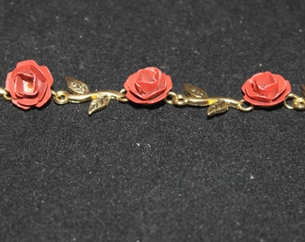 Vintage Gold Tone and Red Enamel Necklace