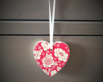 Hearts, Hanging Hearts, Wooden Heart, Home Decor, Gift Tag, Floral Hearts, Tree Decoration, Hanging Decoration