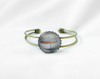 Be Calm - Handwriting Bracelet - Affirmations - Mantra Jewelry - Healing - Serenity Bracelet - Cuff Bracelet - Beach Jewelry - Word Bracelet