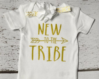 New to the Tribe with headband-  onesie-  Bodysuit/One Piece - photo prop - Birth Announcement