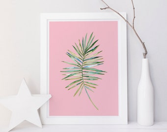 Printable palm print, tropical wall art, tropical print, leaf print, leaf wall art, pink leaf print, green pink print, palm wall art decor