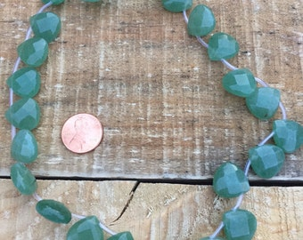 Green Aventurine teardrop faceted top drilled bead 15mm x 15mm - 2 beads