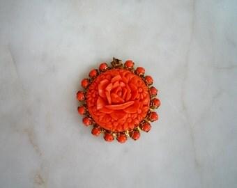 Coral Rose Pendant