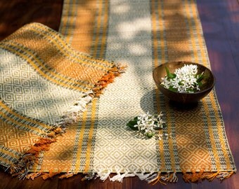 Placemats and Table Runner Set - Natural Fibre (Madur Kati) - Orange and Off White